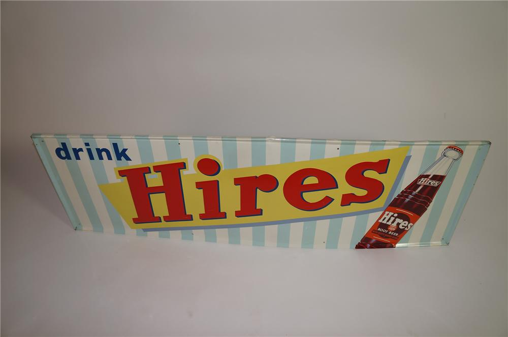 Fabulous 1950s Hires Root Beer horizontal tin sign with bottle graphic - Front 3/4 - 138652
