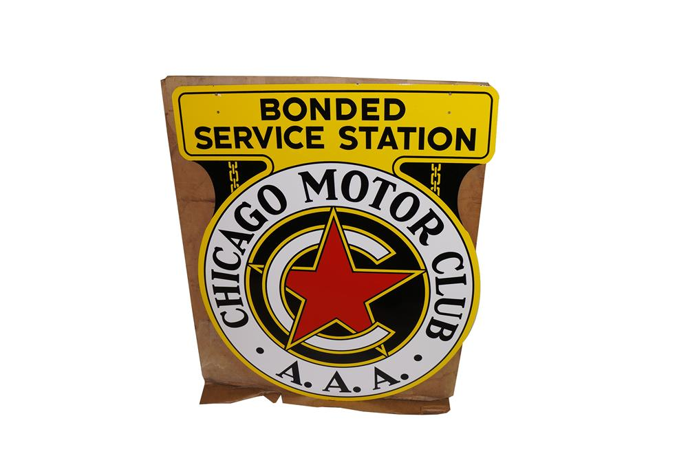 "Unparalleled N.O.S. 1950s Chicago Motor Club ""Bonded Service Station double-sided porcelain sign found in the original shipp... - Front 3/4 - 138659"