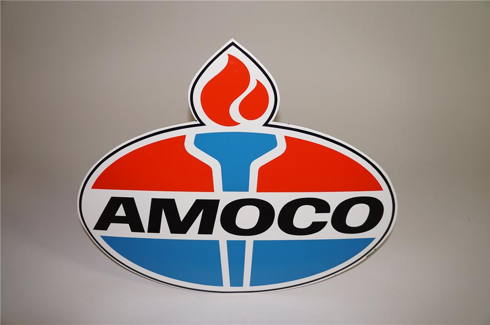 Scarce N.O.S. 1960s Amoco Gasoline die-cut porcelain service station sign with flame logo. - Front 3/4 - 138661