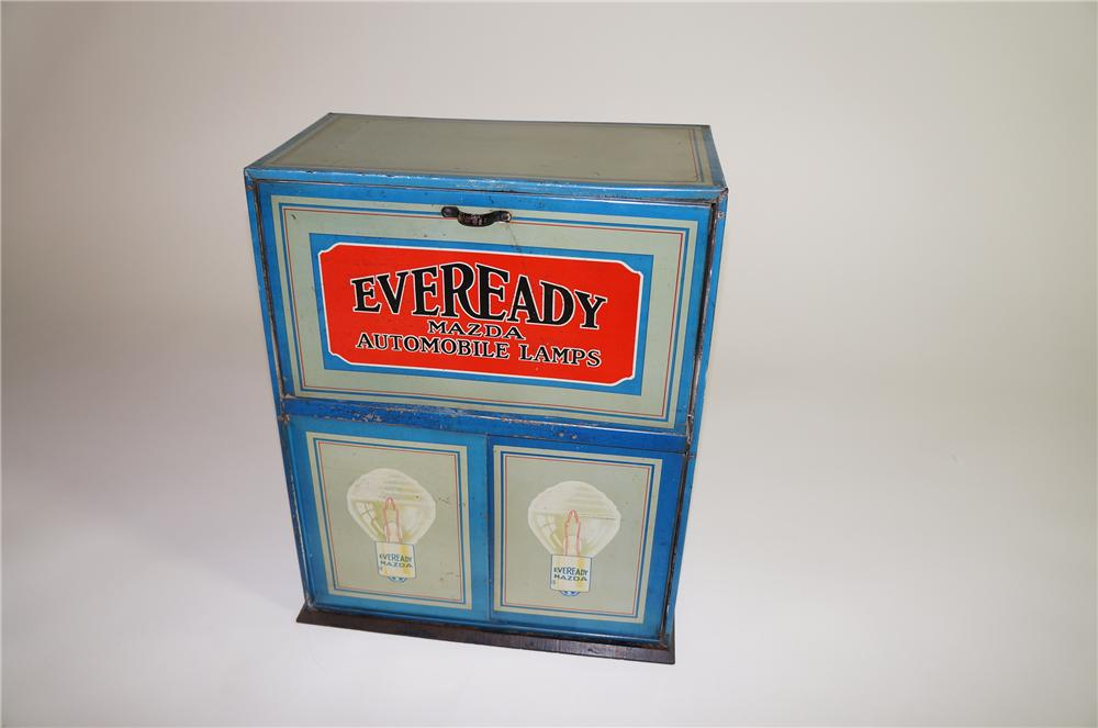 1920s Eveready Mazda Automobile Lamps service garage metal counter-top display cabinet filled with original product. - Front 3/4 - 138662