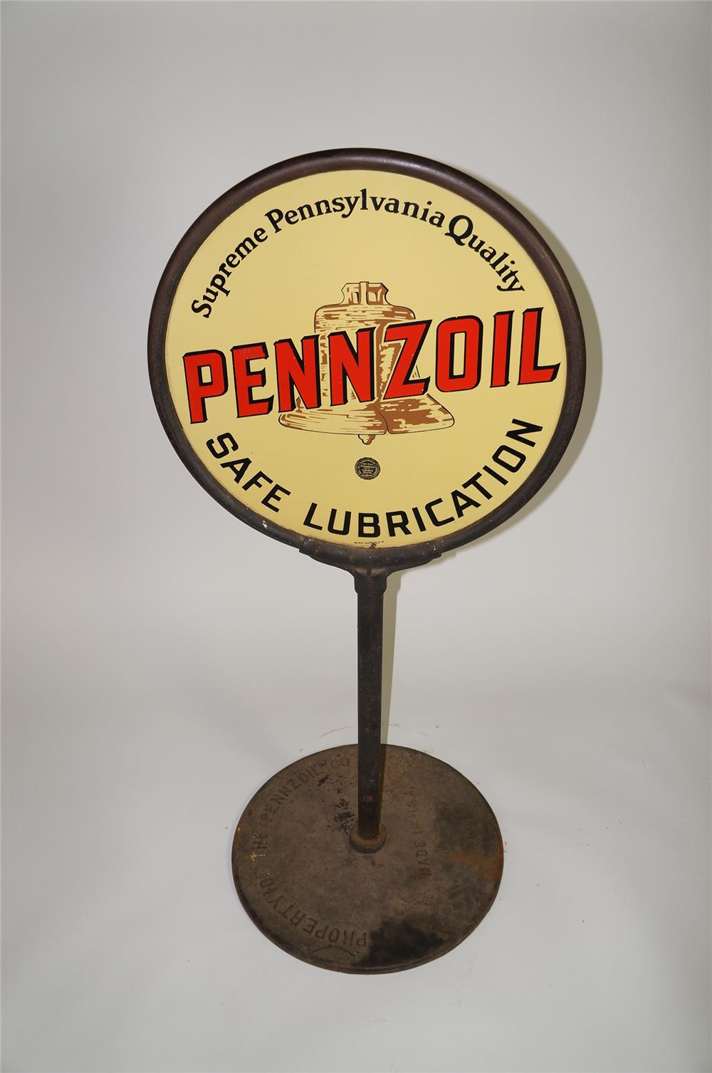 Hard to find 1930s Pennzoil Safe Lubrication double-sided porcelain service station curb sign with bell logo. - Front 3/4 - 138663