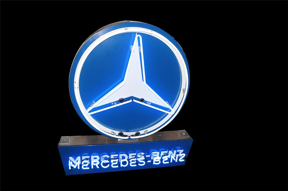 Llate 1950s-early 1960s Mercedes-Benz automobile dealership single-sided porcelain neon sign. - Front 3/4 - 138667