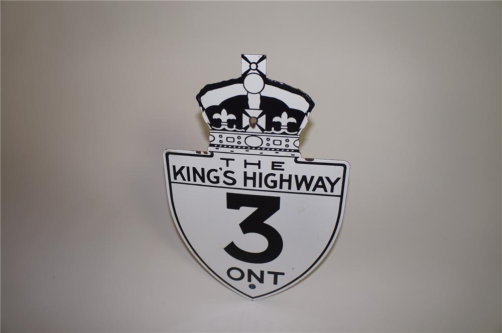 "Good looking 1930s Ontario ""The Kings Highway 3"" single-sided porcelain highway road sign. - Front 3/4 - 138668"