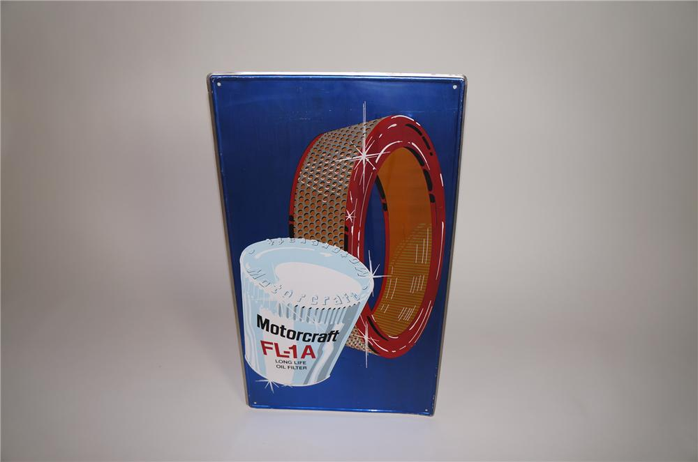 Never before seen 1960s Ford Motorcraft Air-Oil Filters single-sided tin service department sign - Front 3/4 - 138669