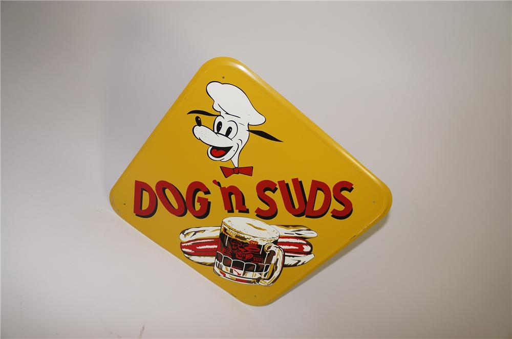 Seldom seen 1956 Dog N Suds Drive In single-sided tin painted sign with killer graphics. - Front 3/4 - 138677