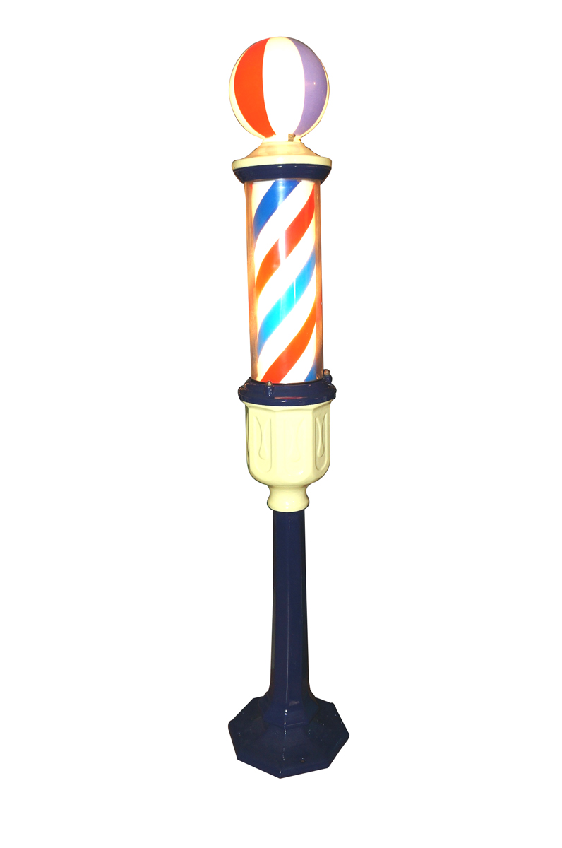 Superlative 1920s porcelain free standing barbershop light-up pole. - Front 3/4 - 138679