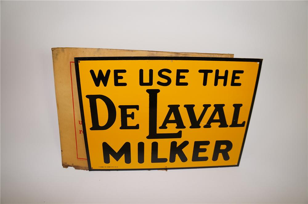 N.O.S. 1945 We Use the De Laval Milker horizontal tin sign in the original shipping sleeve. - Front 3/4 - 138680