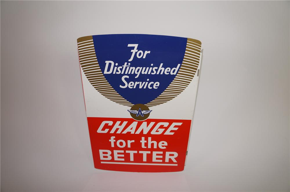 "N.O.S. Flying A Service Stations ""Change for the Better"" tin flange sign. Both sides display different messages. - Front 3/4 - 138682"