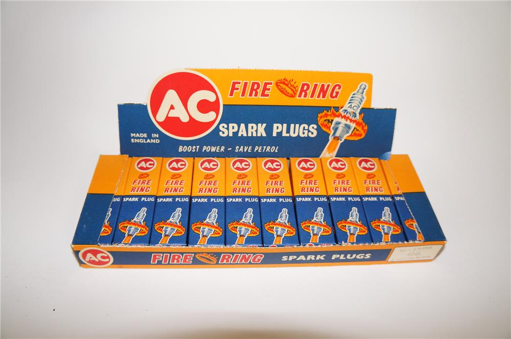 "Nice automotive garage display box of N.O.S. 1940s-50s AC ""Fire Ring"" Spark Plugs.  Still full and unused. - Front 3/4 - 138685"
