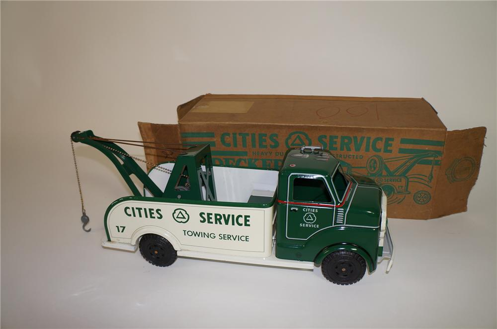 Choice 1950s Cities Service Towing Service pressed steel Tow Truck still in the original box. - Front 3/4 - 138691