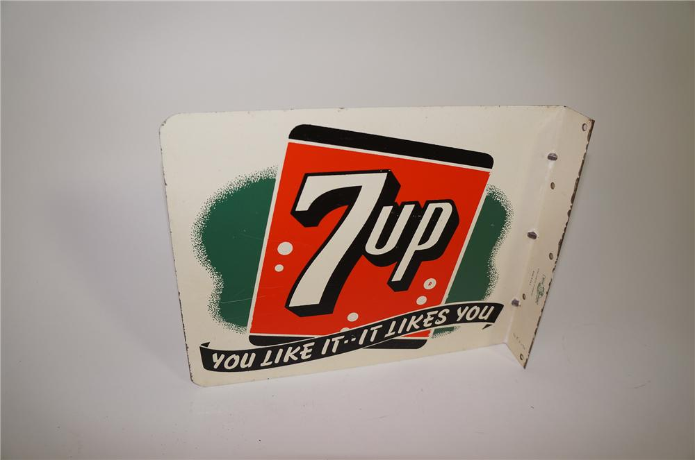 """Wonderful 1950s 7-up """"You Like It - It Likes You"""" double-sided tin painted flange sign. - Front 3/4 - 138693"""