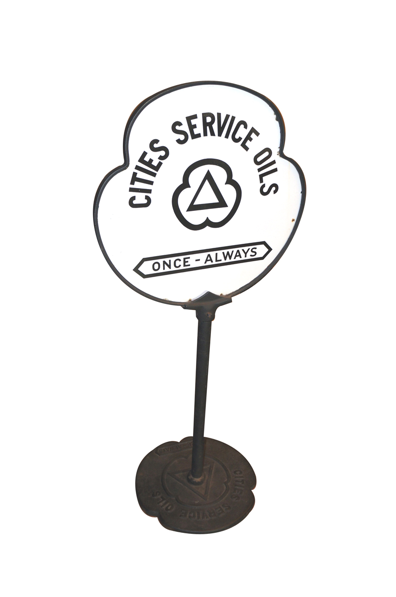 """Exceptional 1930s Cities Service Oils """"Once-Always"""" double-sided porcelain service station curb sign. - Front 3/4 - 138696"""