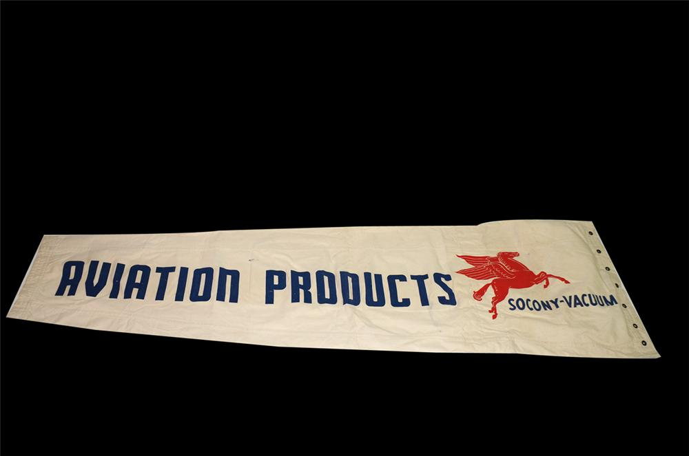 Hard to find 1940s Mobil Oil Aviation Products airport wind sock never used! - Front 3/4 - 138702