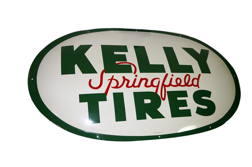 Choice 1963 Kelly Springfield Tires horizontal tin painted automotive garage sign. - Front 3/4 - 138706