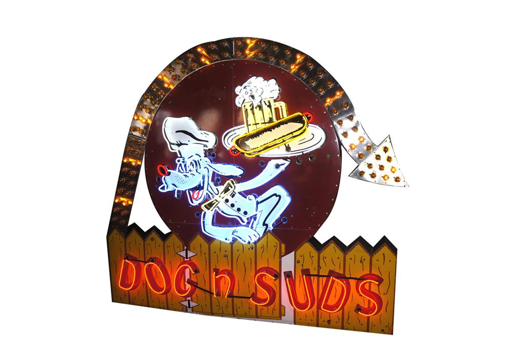 Exceptional 1950s Dogs-N-Suds Drive-In single-sided neon porcelain sign with animated arrow. - Front 3/4 - 138707
