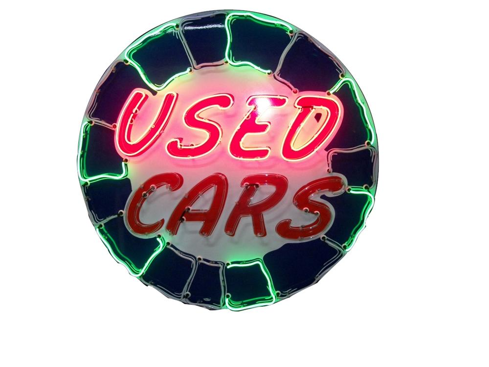 Amazing 1950s Used Cars single-sided neon porcelain dealership sign. - Front 3/4 - 138722