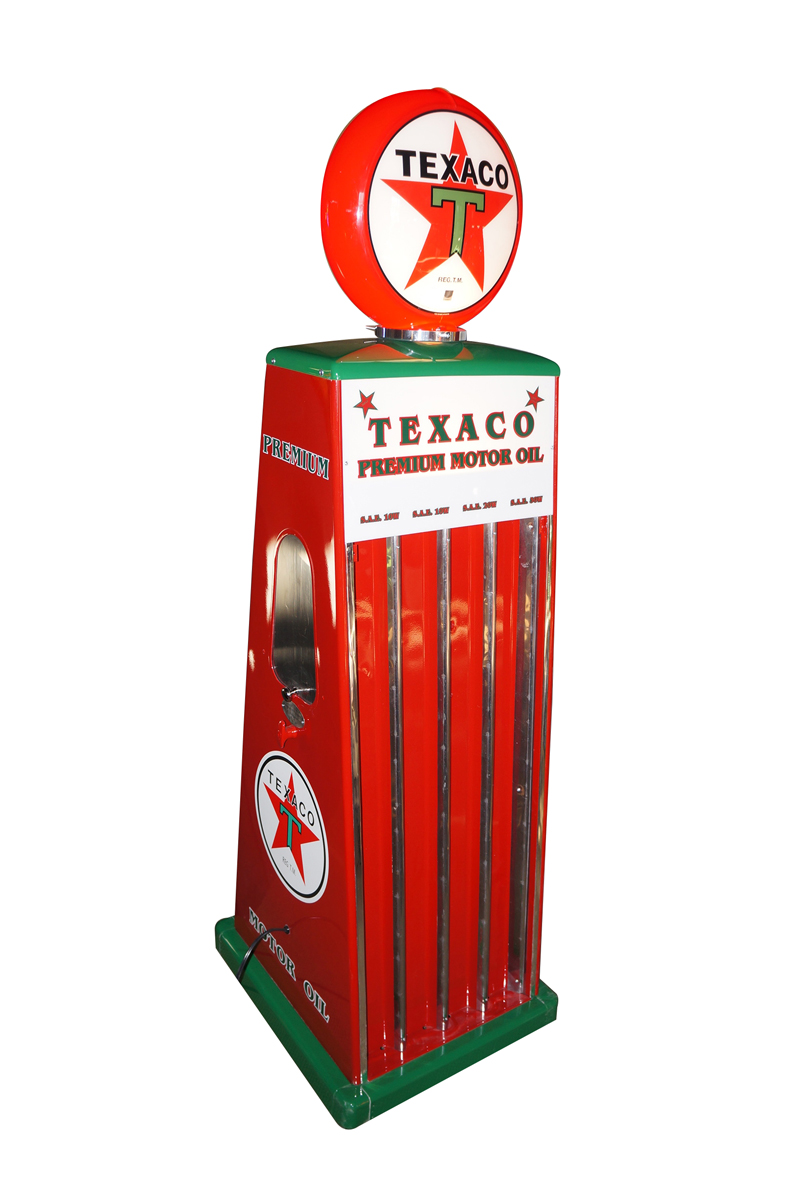 Terrific 1950s Texaco Sel-Oil filling station fuel island oil can display rack with lighted globe. - Front 3/4 - 138739
