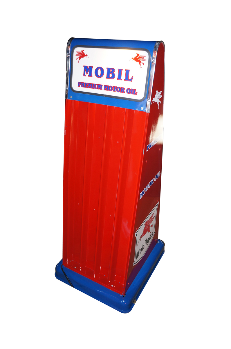 1950s Mobil Oil Sel-Oil filling station fuel island oil can display rack with lit panel. - Front 3/4 - 138740