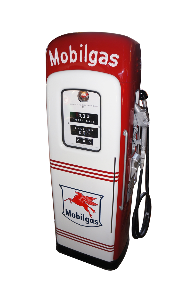 Hard to find late 1940s Mobil Oil MS 80 restored service station gas pump with light-up script top - Front 3/4 - 138743