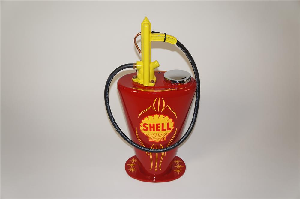 Sharp late 1920s-30s restored Mobil Oil five-gallon service department hand crank greaser. - Front 3/4 - 138746