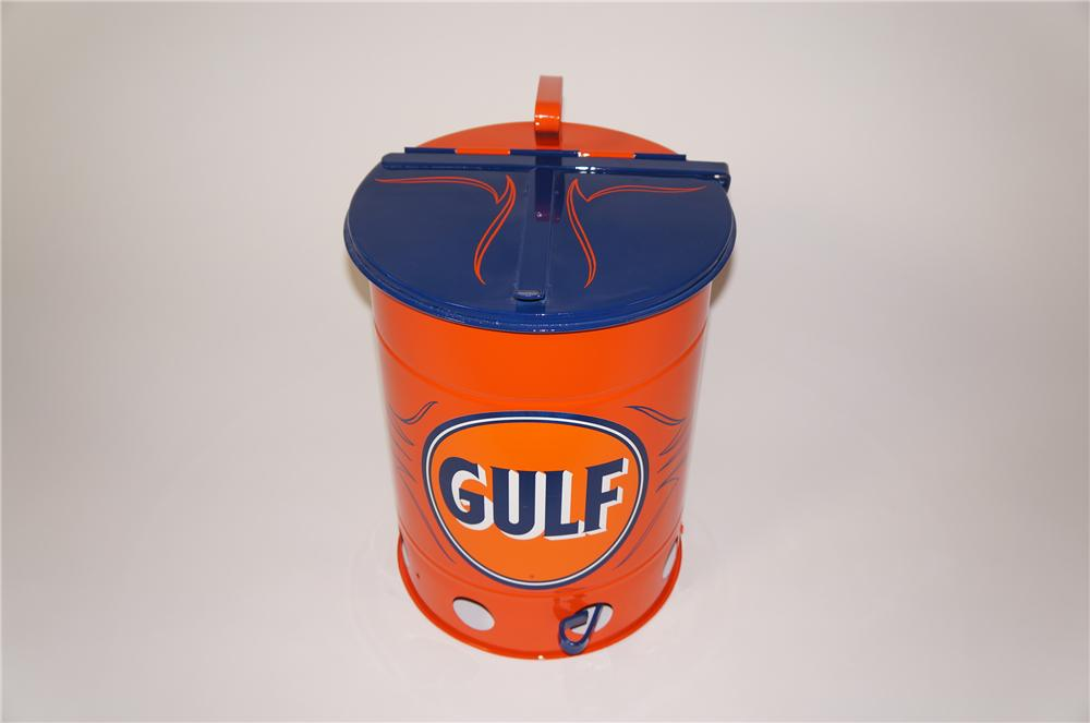 Wonderful 1930s-40s restored Gulf Oil service department oil rag can with foot lever. - Front 3/4 - 138748