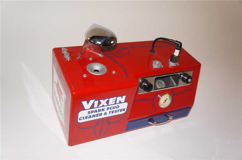 Interesting 1940s-50s Mobil Oil Vixen Spark plug cleaner & tester.  Nicely done aesthetic restoration. - Front 3/4 - 138750