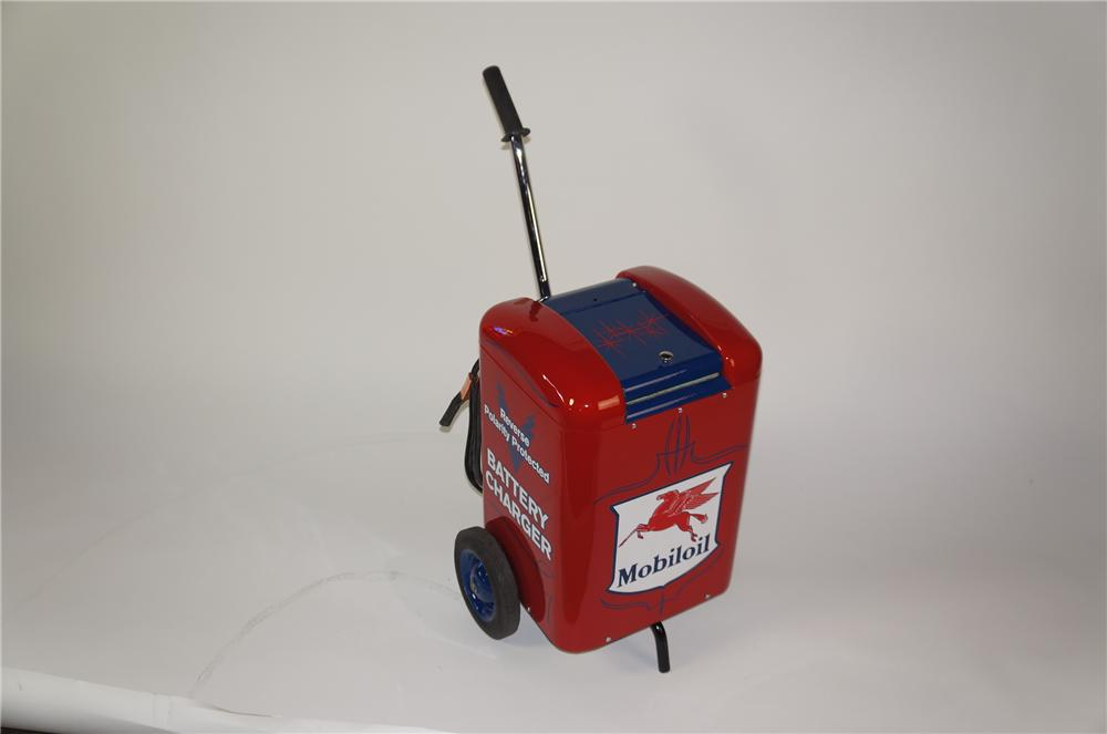 Very neat 1950s Mobil Oil service department station battery charger on wheels. - Front 3/4 - 138756