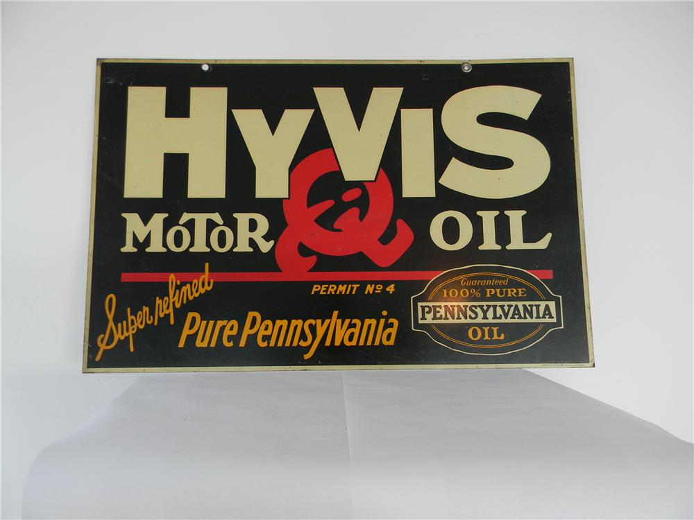 Very nice 1930s Hyvis (Texaco) Motor Oil double-sided tin painted garage sign. - Front 3/4 - 138781