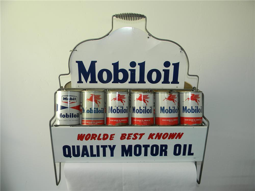 Impressive 1940s Mobiloil service station fuel island oil quart stand filled with period quarts which are still full! - Front 3/4 - 138782