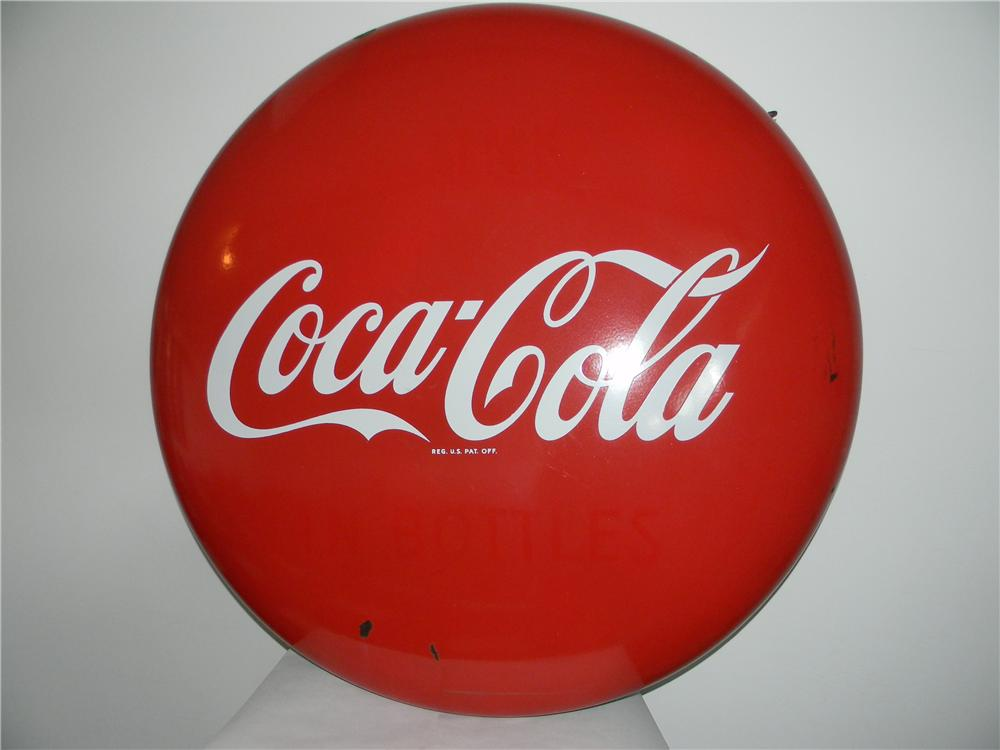 1950s Coca-Cola porcelain button sign with just a few minor imperfections. - Front 3/4 - 138783