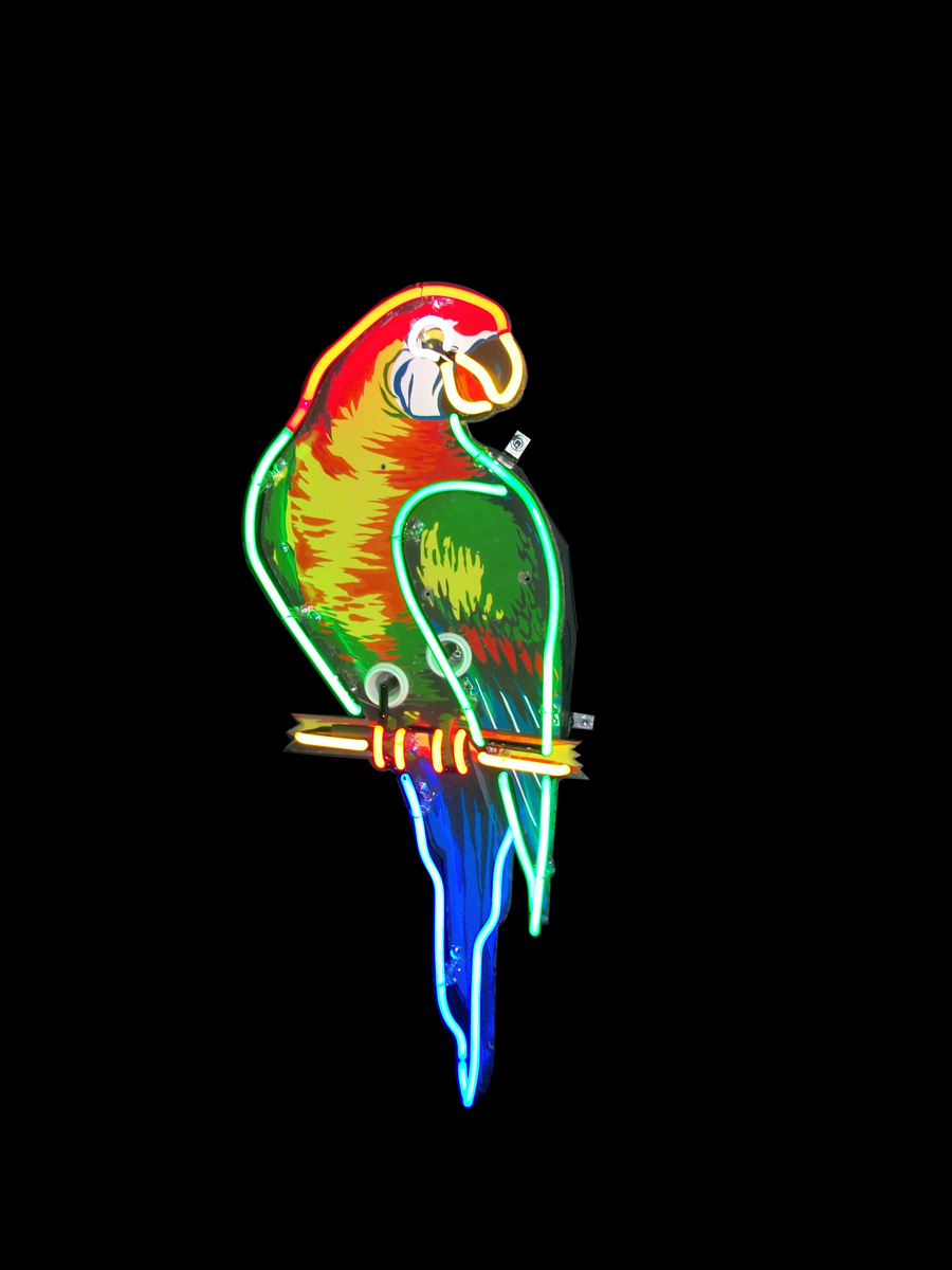 Beautiful 1930s Poll Parrot Shoes single-sided neon porcelain store sign. - Front 3/4 - 138827