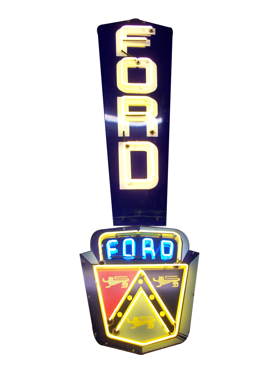 Unusual version 1953 Ford Jubilee single-sided neon porcelain dealership sign. - Front 3/4 - 138828