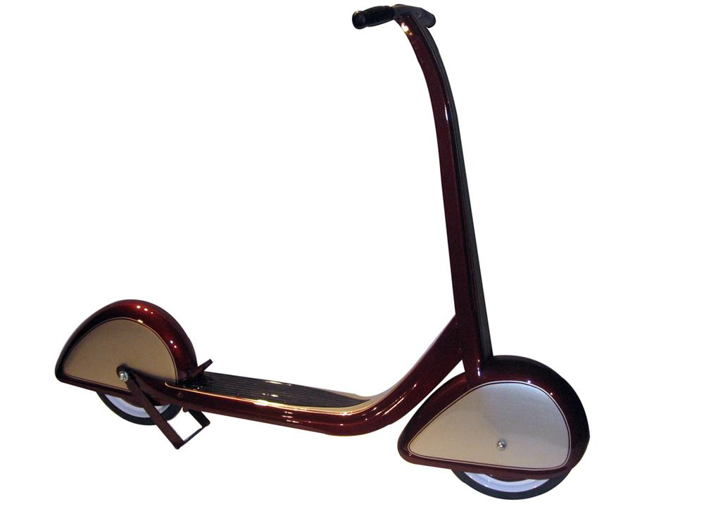 Restored 1930s Art Deco full fendered childs scooter with custom paint. - Front 3/4 - 138834