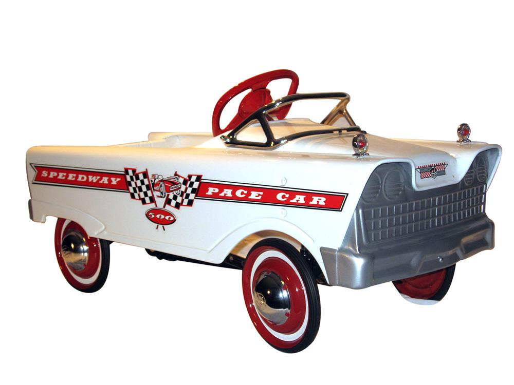 Restored 1960 Murray Speedway Pace Car.  This pedal car has been restored to its original colors and graphics. - Front 3/4 - 138837