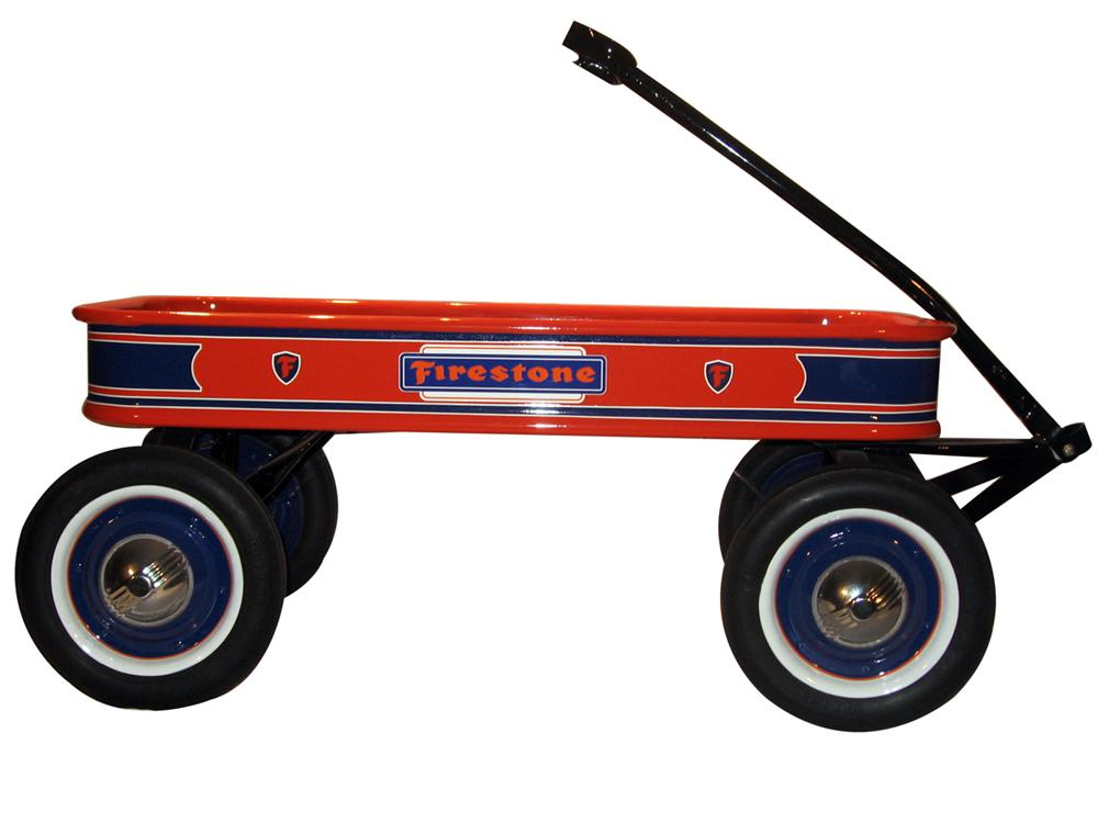 Restored 1940s Childs pull wagon custom painted in firestone colors. - Front 3/4 - 138838