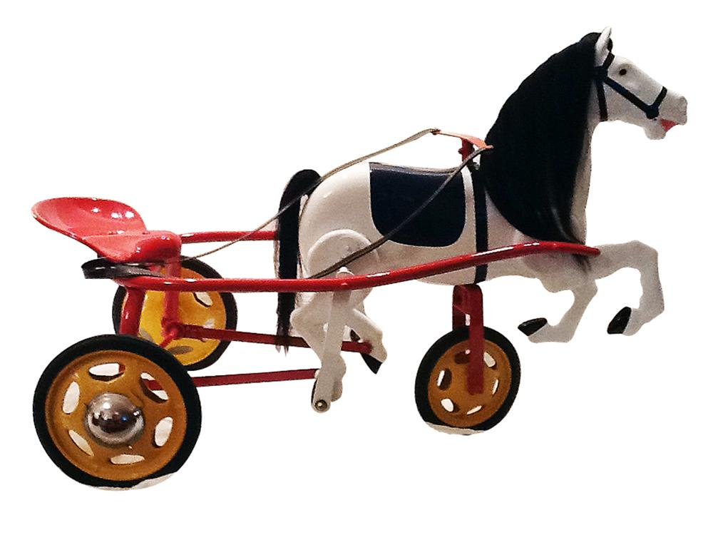 Nicely restored 1930s Tri-Ang Pedal horse harness racer. - Front 3/4 - 138845