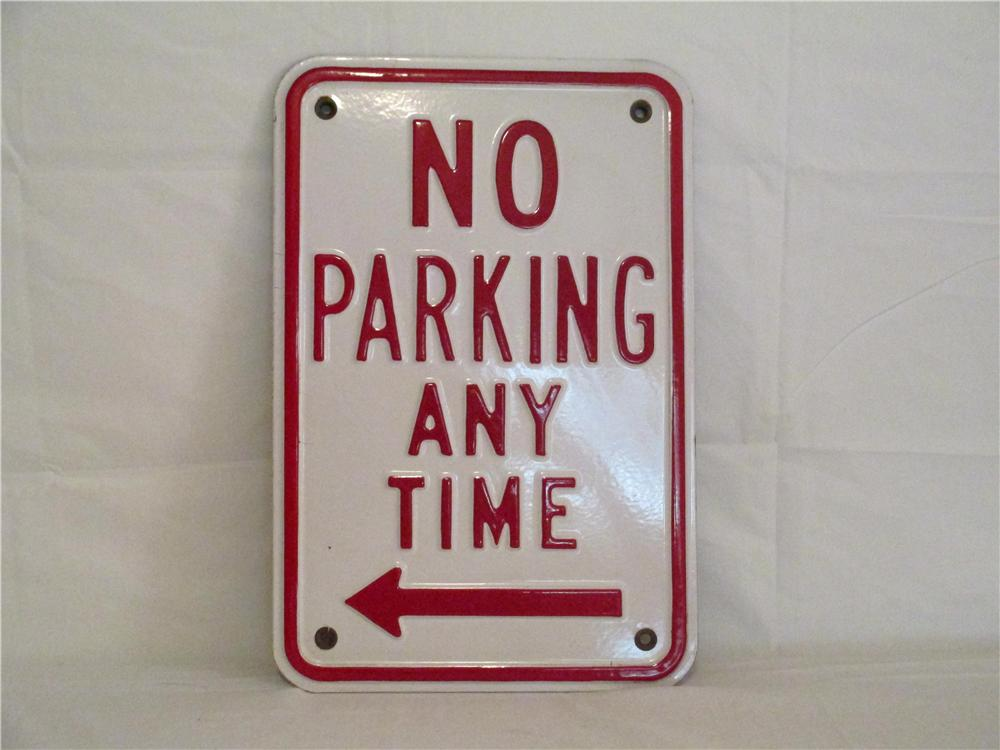 "N.O.S. 1962 porcelain on steel ""No Parking Any Time"" sign manufactured by Southwest Porcelain Steel Company. - Front 3/4 - 138850"