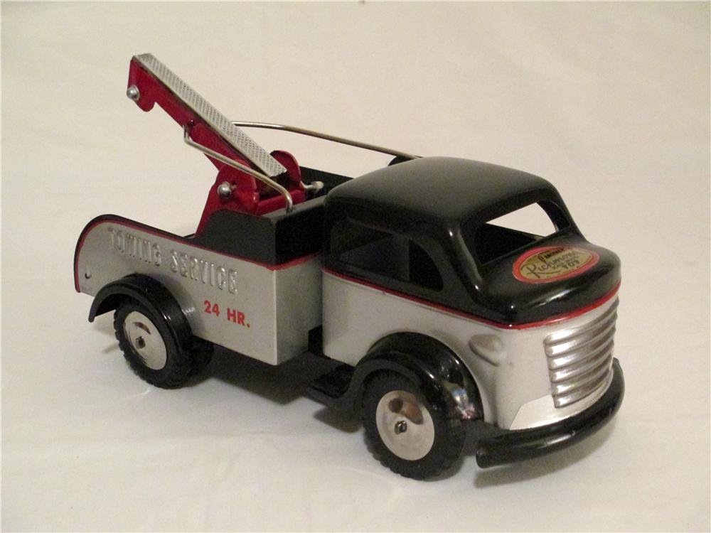 1950s Restored Richmond Toys Pressed Steel 24 Hour Towing Service Wrecker Truck. - Front 3/4 - 138853