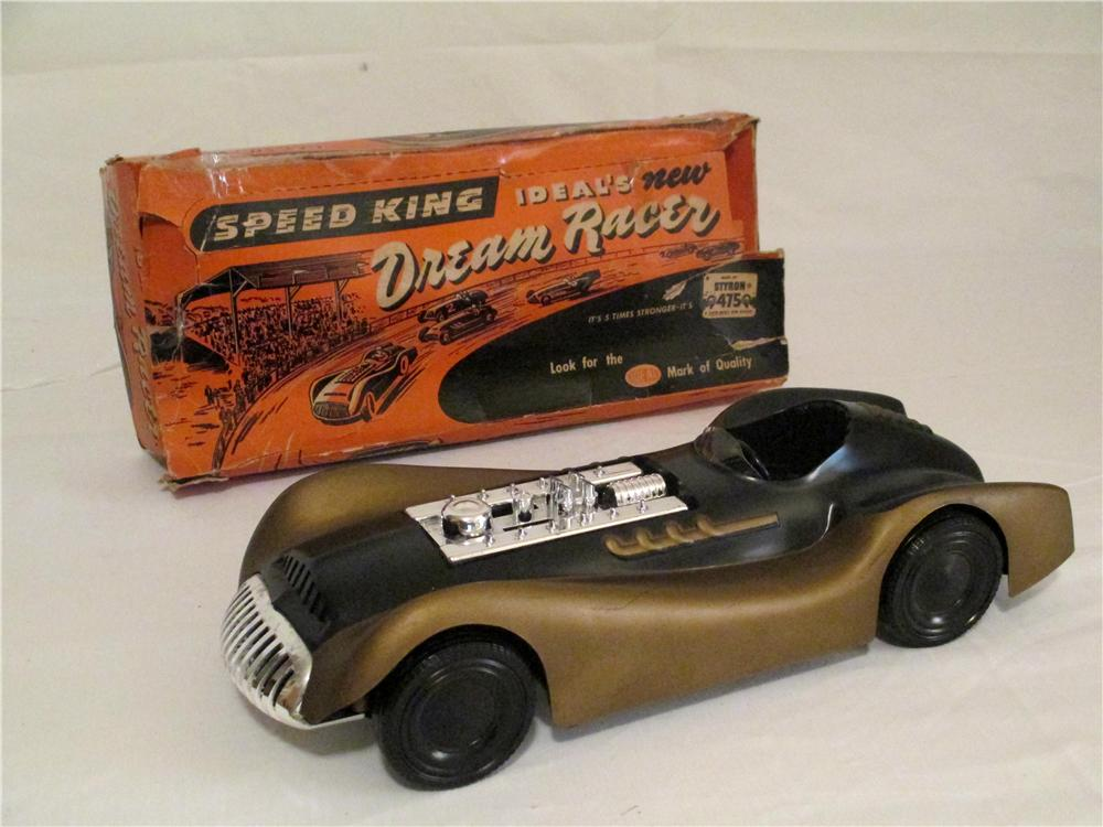 Extremely rare 1950s Ideal Toys Speed King Dream Racer in exceptional un-played with condition with original box. - Front 3/4 - 138854