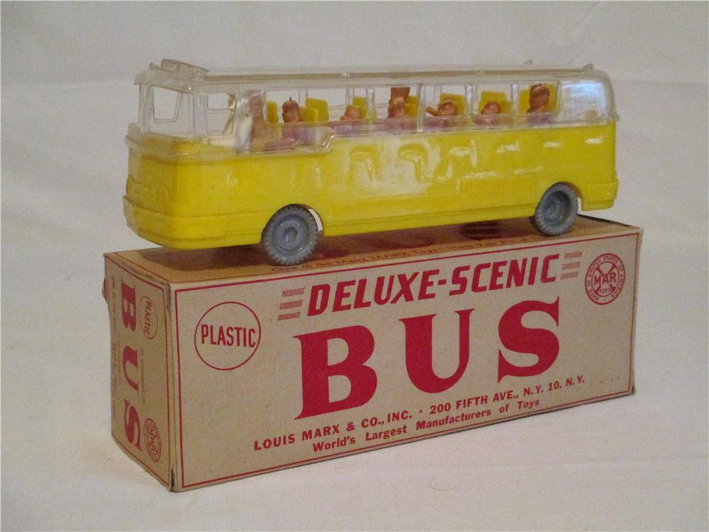 N.O.S. 1951 Louis Marx Deluxe scenic bus with driver and nine passengers in the original box. - Front 3/4 - 138857