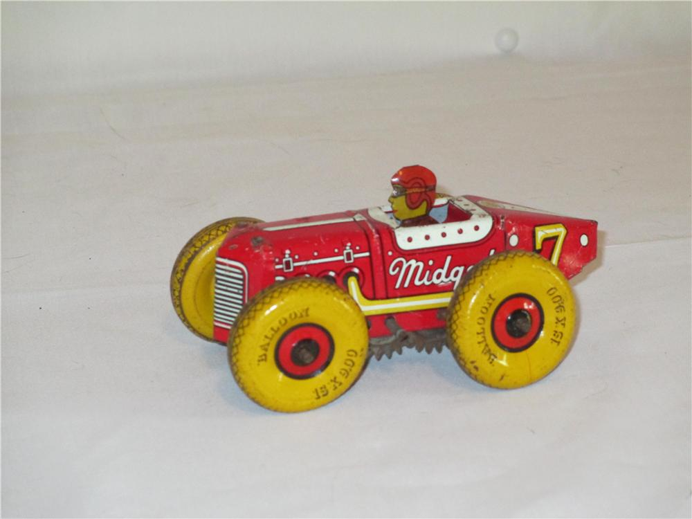 1940s Louis Marx #7 Midget tin wind-up racer with balloon tires. - Front 3/4 - 138858