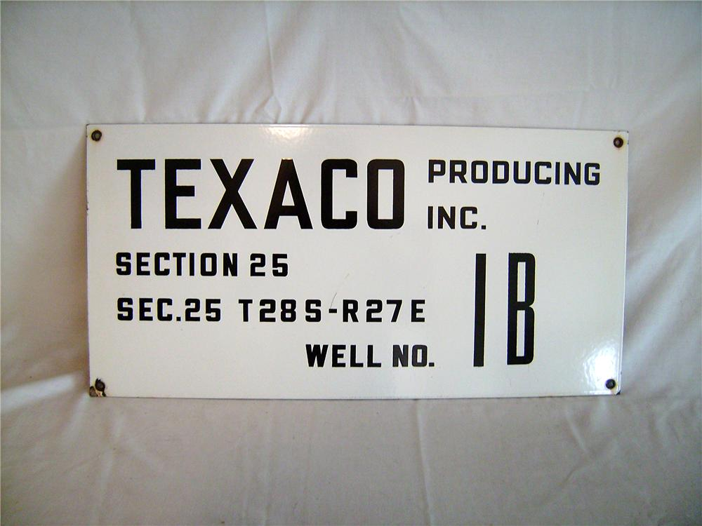 Porcelain Texaco Oil producing well sign in exceptional condition. - Front 3/4 - 138859