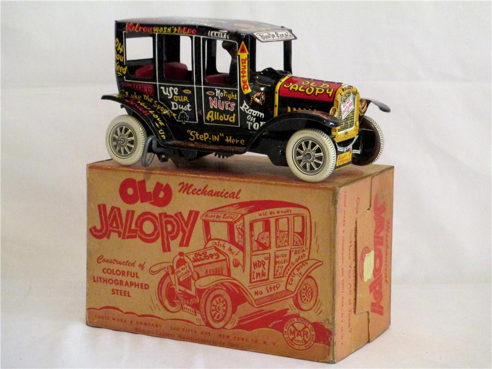 Choice 1930s Marx wind-up mechanical Old Jalopy tin litho sedan still in the original box! - Front 3/4 - 138862
