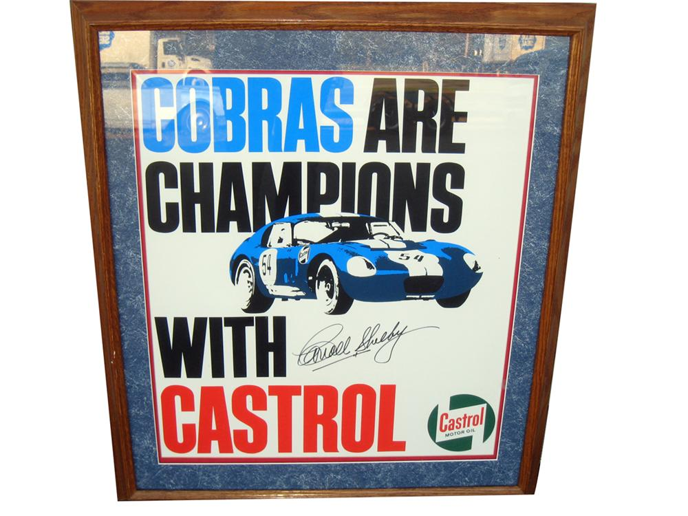 """Vintage Shelby Cobra """"Cobras are Champions with Castrol"""" poster with Carroll Shelbys authentic autograph. - Front 3/4 - 138865"""