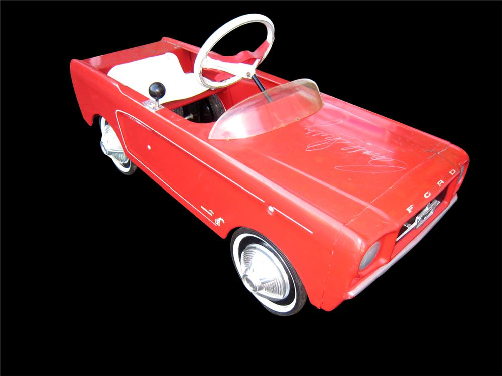 Amazing All Original 1965 AMF Ford Mustang pedal car autographed by Carroll Shelby. - Front 3/4 - 138867