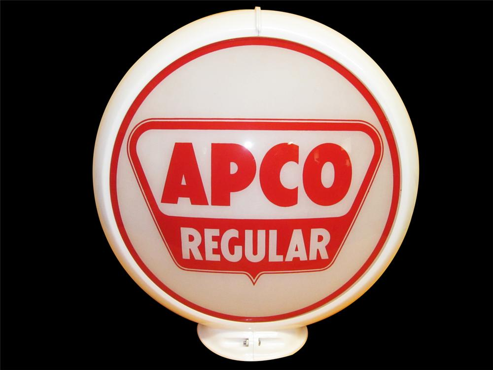 "N.O.S. 1950s Apco Regular 13.5"" glass faced gas pump globe on Capco body. - Front 3/4 - 138870"