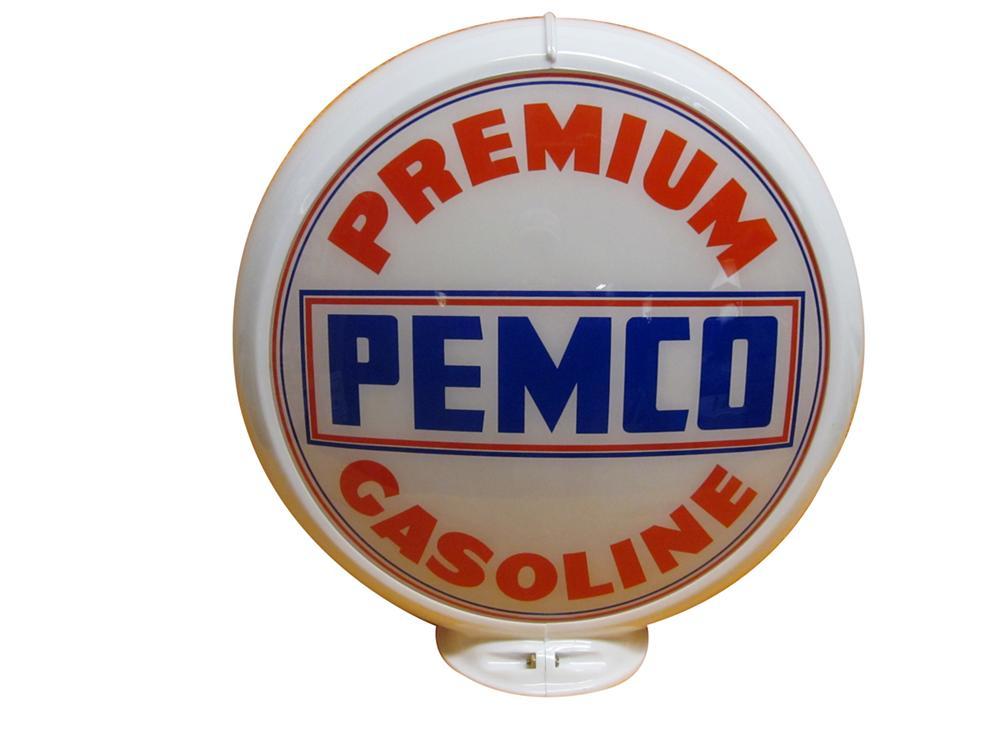 "N.O.S. late 50s Pemco Premium Gasoline gas pump globe on 13.5"" Caco body. - Front 3/4 - 138873"