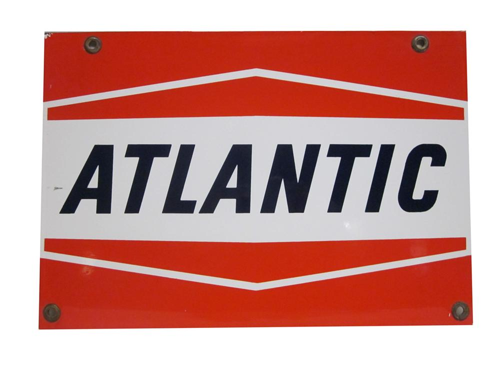Very clean 1950s-60s Atlantic Gasoline single-sided porcelain pump plate sign. - Front 3/4 - 138874