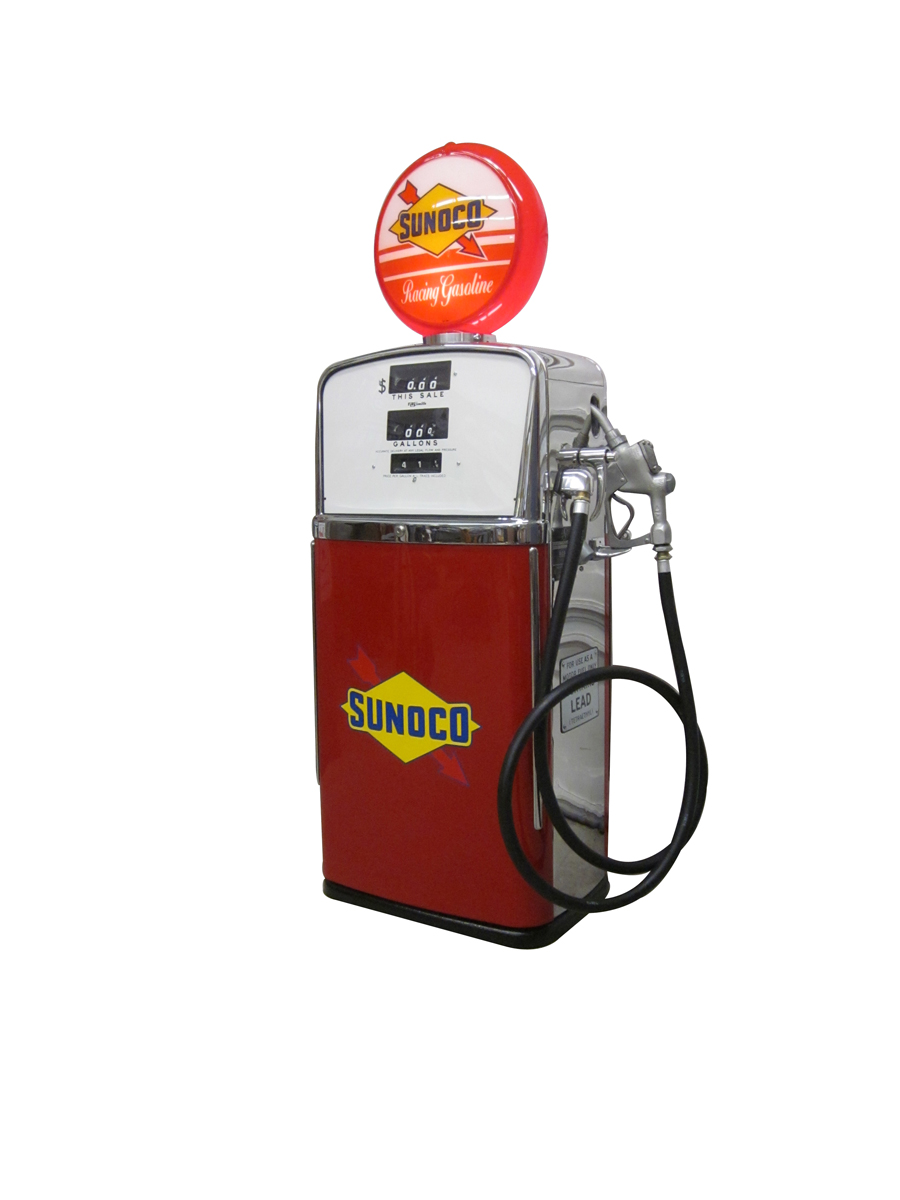 "Sharp 1958 A.O.Smith model 483 gas pump completely restored to ""Sunoco Racing Fuel"". - Front 3/4 - 138876"
