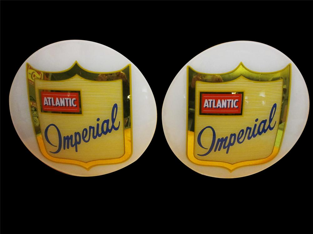 Impressive N.O.S. late 1950s Atlantic Imperial gasoline gas pump globe lenses. - Front 3/4 - 138877